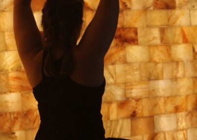 Yoga Pose and Salt Wall | Eden Salt Studio